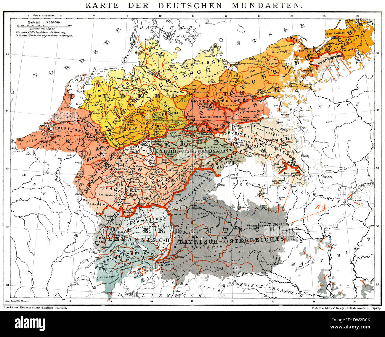 Historical map of German dialects, Germany, 1894 Stock Photo ...