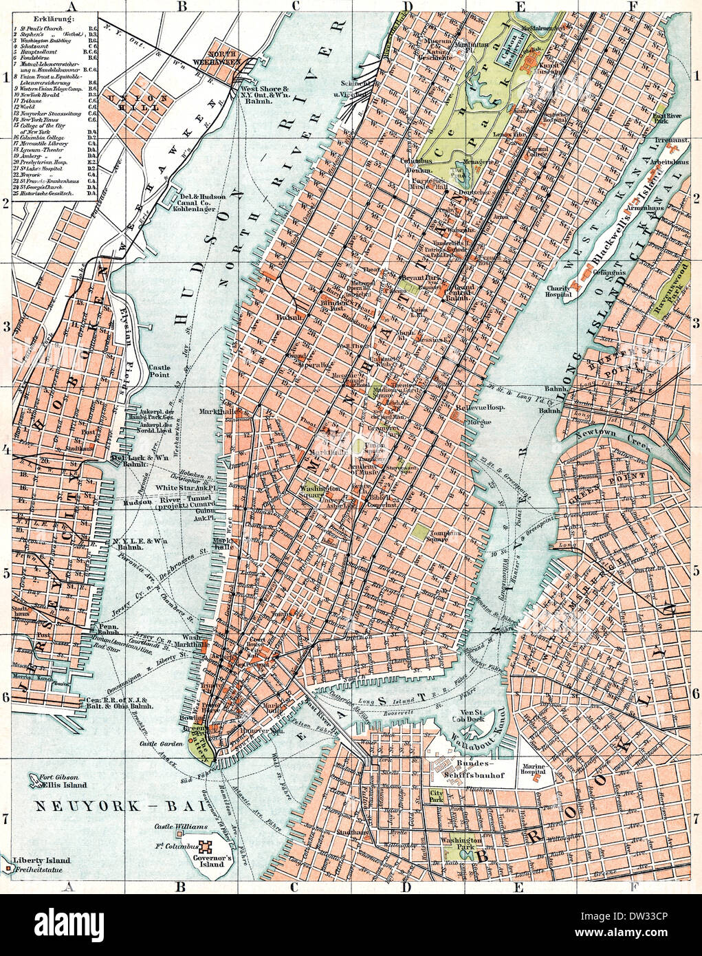 New York On Usa Map.Historical Map Of New York City Usa 1896 Stock Photo 67066070 Alamy