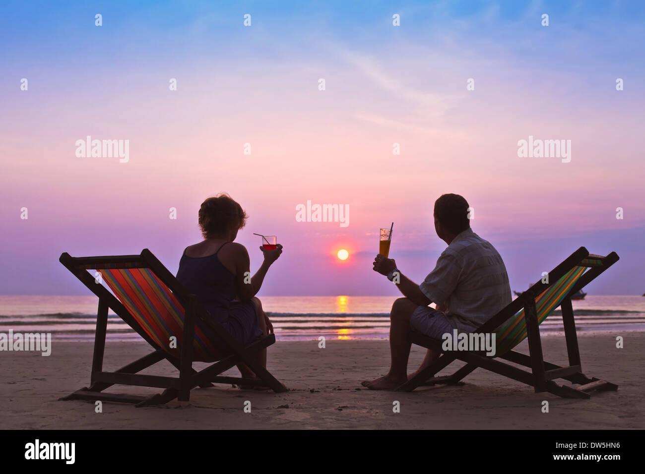 couple on the beach - Stock Image