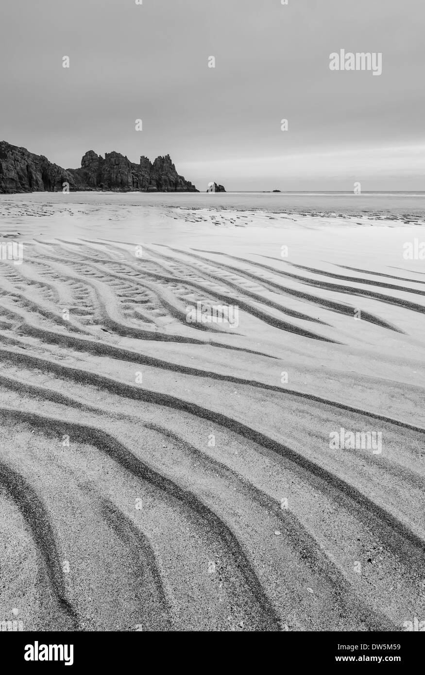 Sand ripples at low tide on Pednvounder Beach, Cornwall, England. Winter (February) 2013 - Stock Image