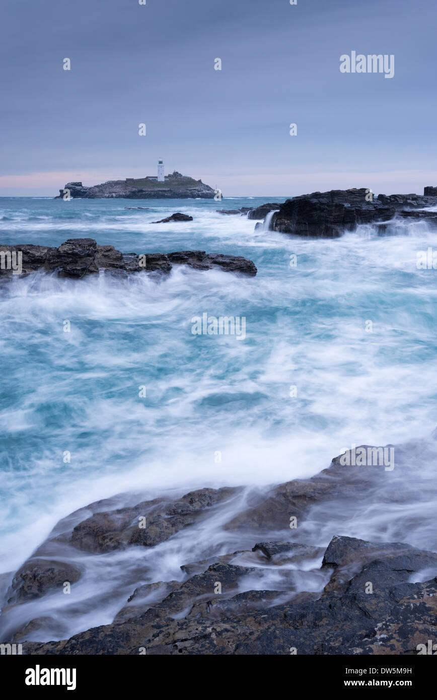 Crashing Atlantic waves near Godrevy Lighthouse, Cornwall, England. Winter (February) 2013. - Stock Image