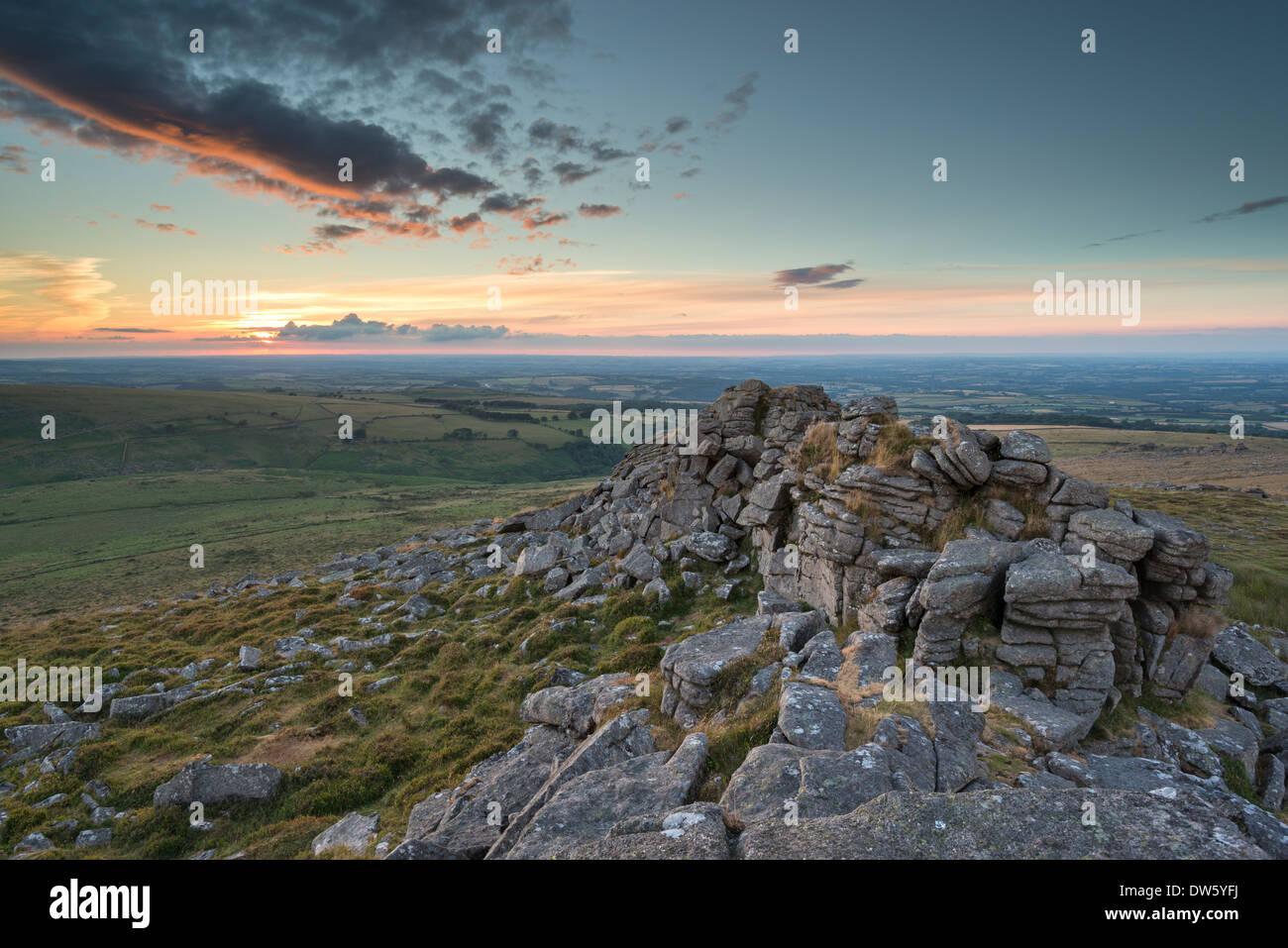 Summer sunset over Dartmoor National Park, Devon, England. Summer (July) 2013. - Stock Image