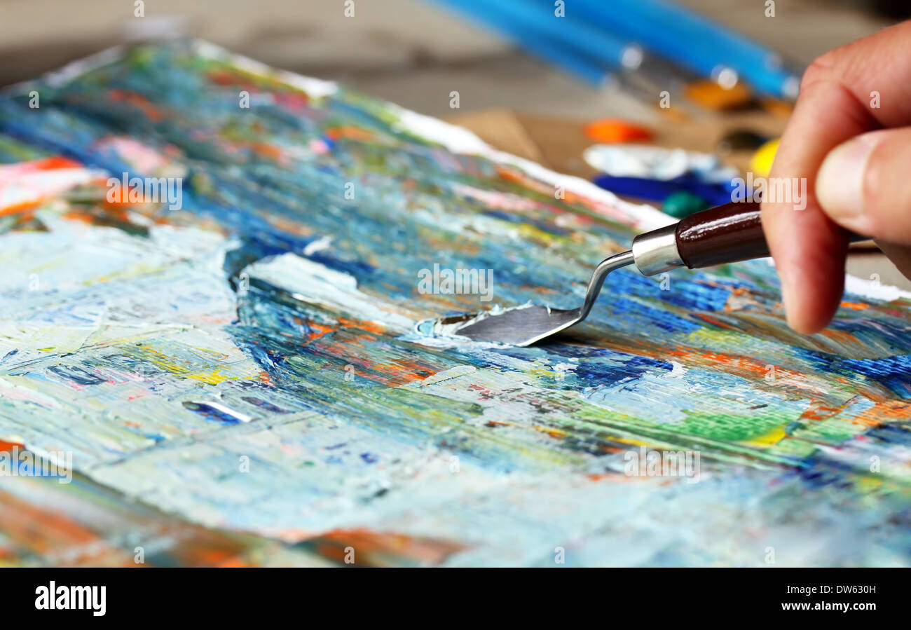 Art painting with palette knife Stock Photo