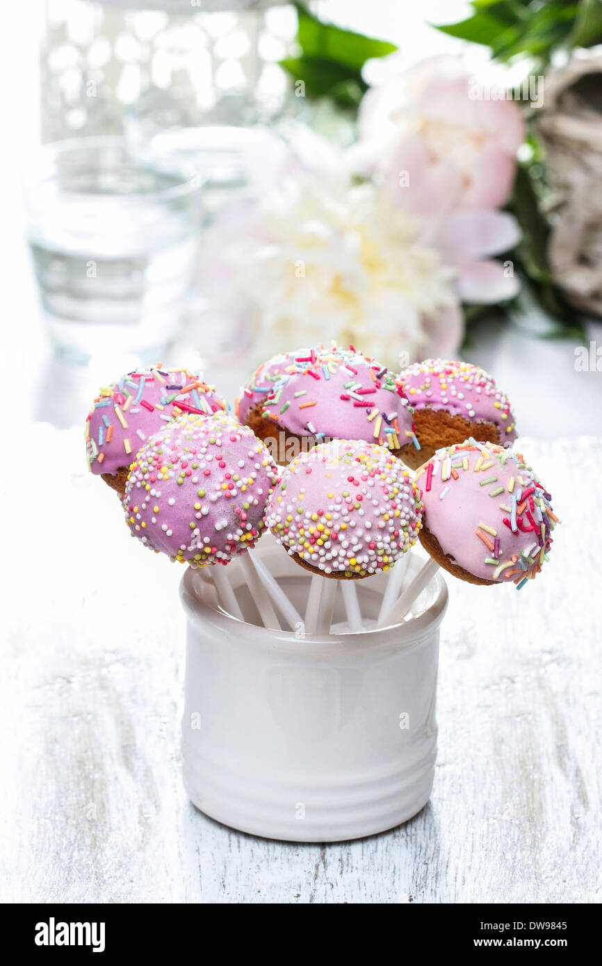Cake Pops And Peony Flower Isolated On White Backgroundke Pops