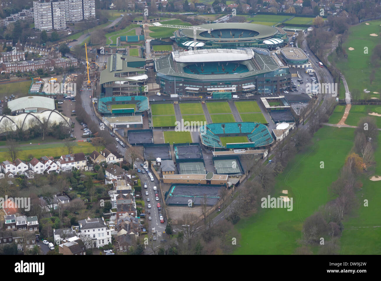 Aerial Photograph showing the All-England Tennis Club at Wimbledon - Stock Image