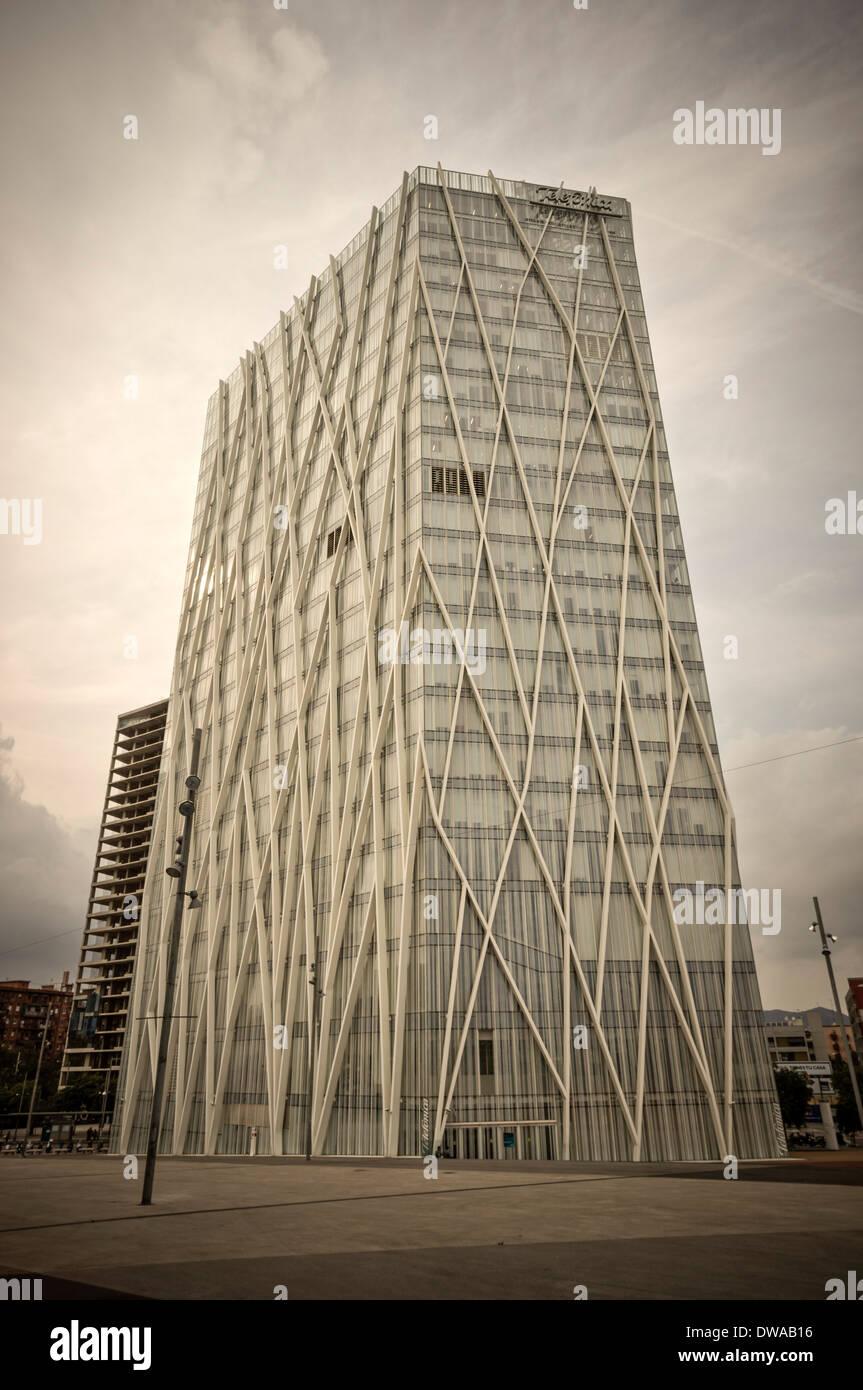 Telefonica building , Torre Diagonal Zero Zero, EMBA, ESTUDI MASSIP-BOSCH ARCHITECTS, Barcelona, Spain - Stock Image