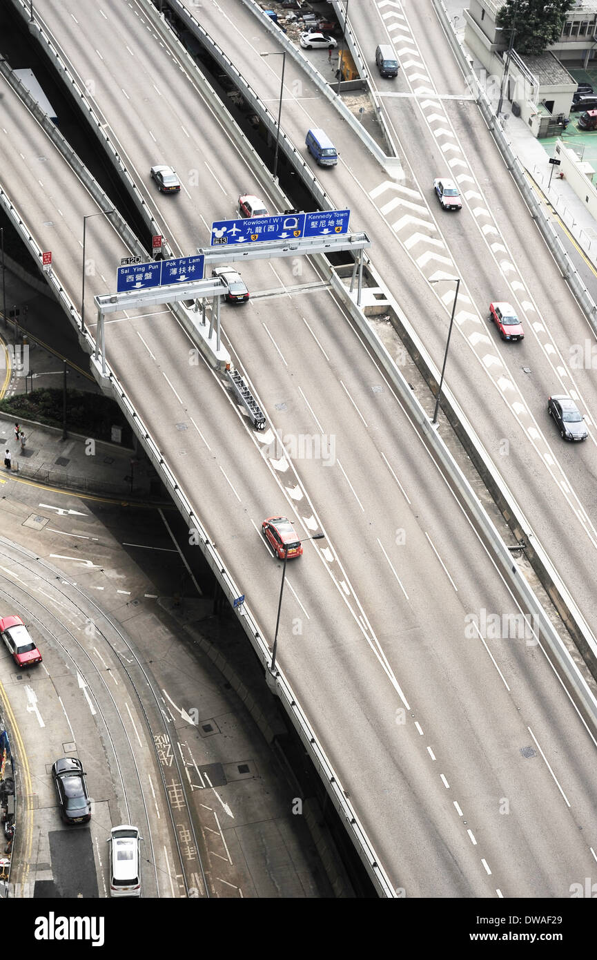 Aerial view of a flyover in Hong Kong - Stock Image
