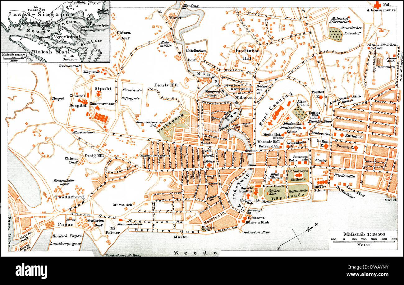 Historical city map, Singapore, Asia, 19th Century Stock Photo ...