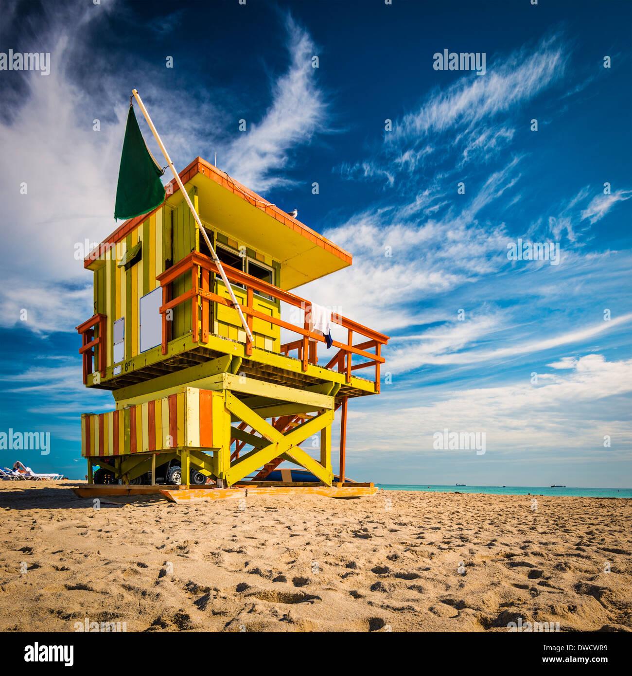Miami, Florida on Miami Beach at a lifeguard tower. - Stock Image