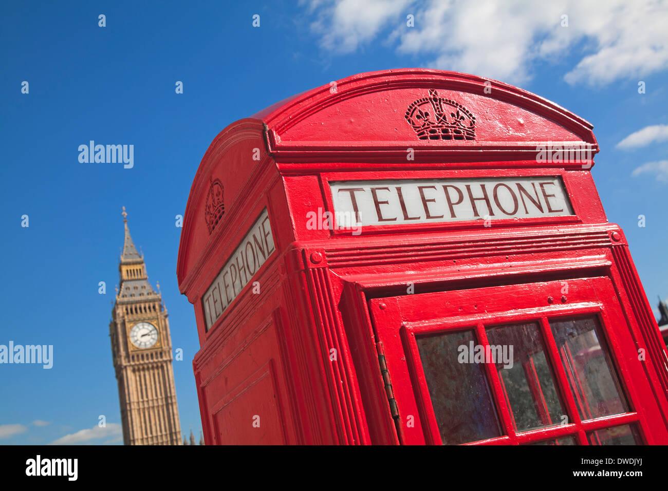 Red phone box in London UK - Stock Image