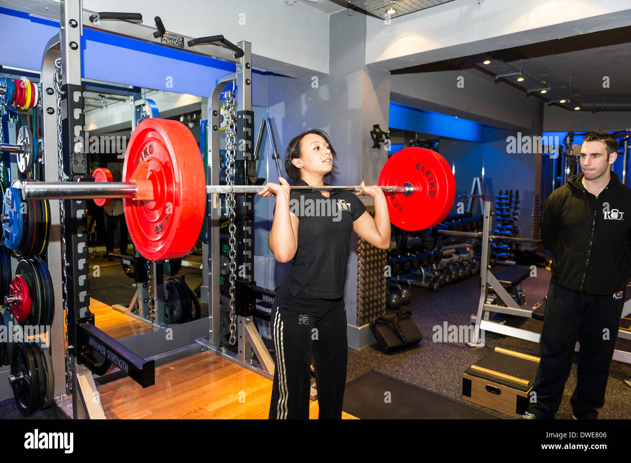 Birmingham NEC, UK. Thursday 6th March. 2014:  Zoe Smith, English weightlifter and Olympian at the launch of the - Stock Image