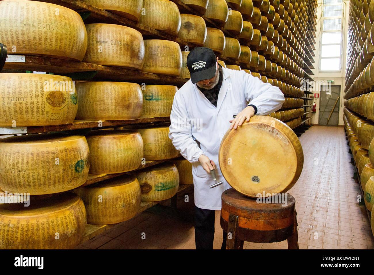 Parmigiano Reggiano cheese producer factory in Baganzolino, Parma, Emilia Romagna, Italy Stock Photo