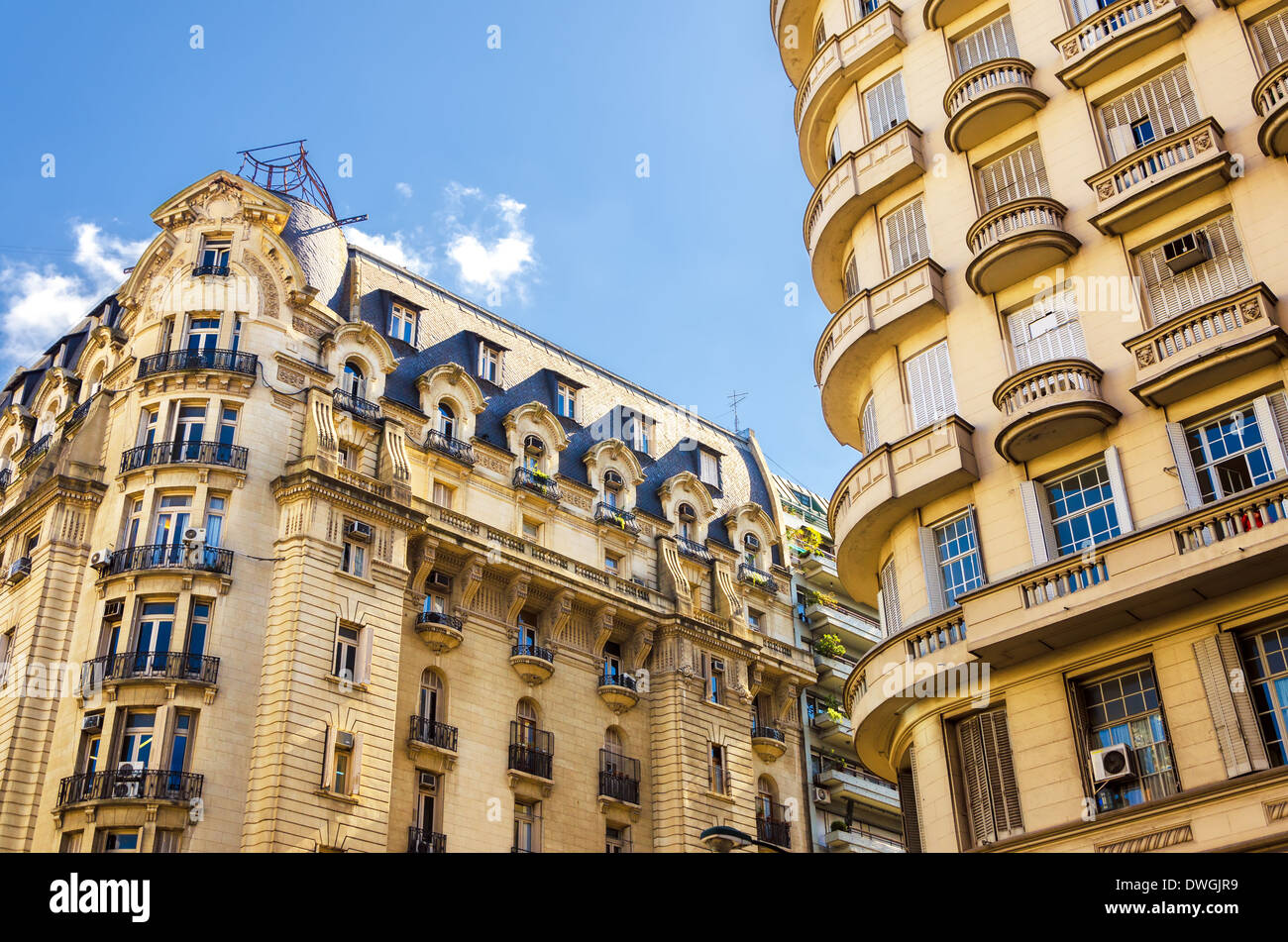 Beautiful French style architecture in the Recoleta neighborhood of Buenos Aires, Argentina - Stock Image