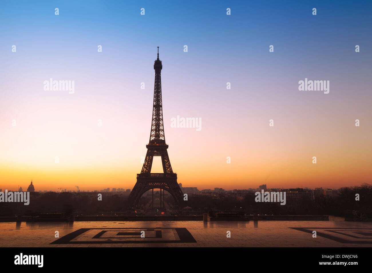 beautiful panoramic view on Eiffel tower in Paris, France - Stock Image