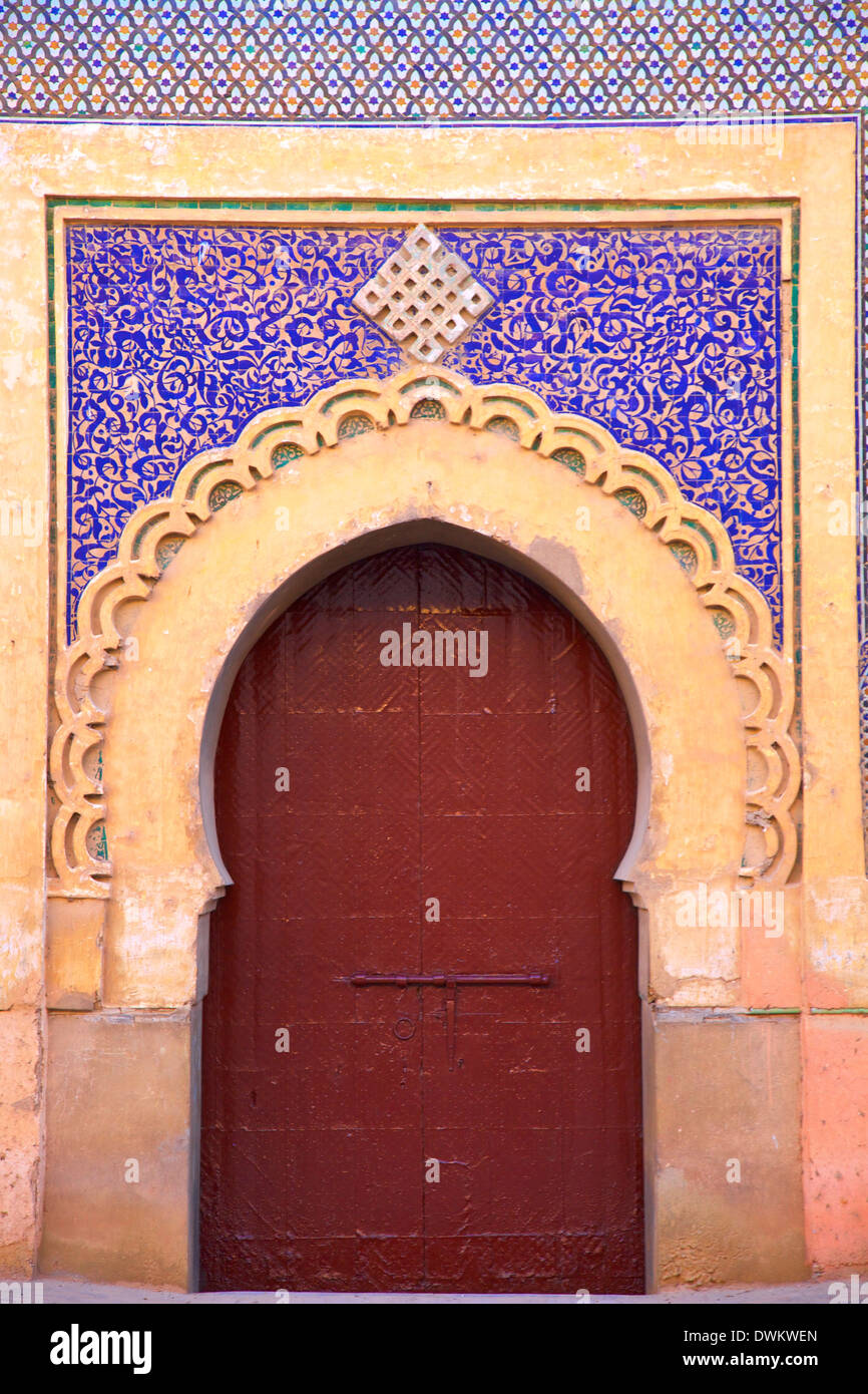 Gate to Royal Palace, Meknes, Morocco, North Africa, Africa - Stock Image