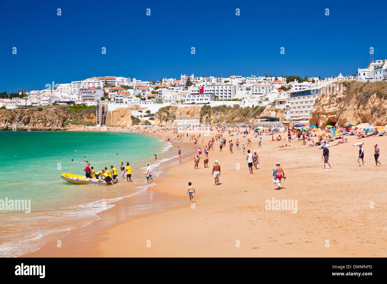 Holidaymakers on Fishermans Beach (Praia dos Pescadores), Albufeira Beach, Algarve, Portugal, EuropeStock Photo