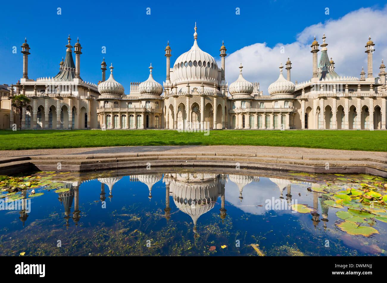 Brighton Royal Pavilion with reflection, Brighton, East Sussex, England, United Kingdom, Europe - Stock Image