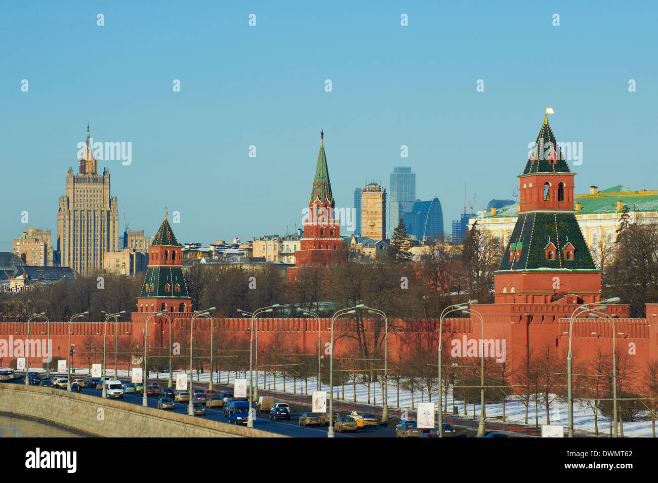 The Kremlin Wall and the business center, Moscow, Russia, Europe - Stock Image