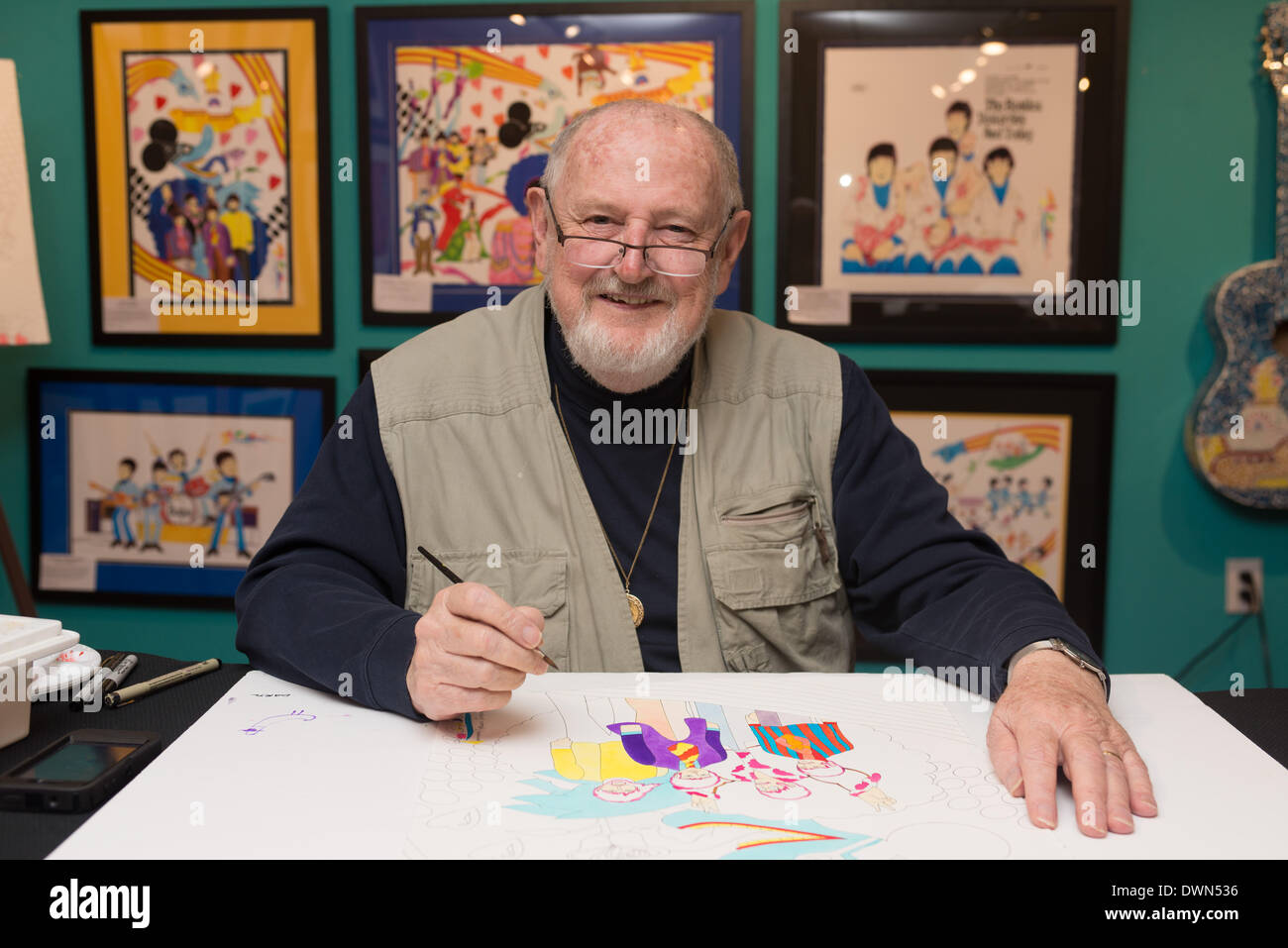Austin, Texas, USA. March 11, 2014 - Beatles Yellow Submarine animator RON CAMPBELL paints at Wild About Music During Stock Photo