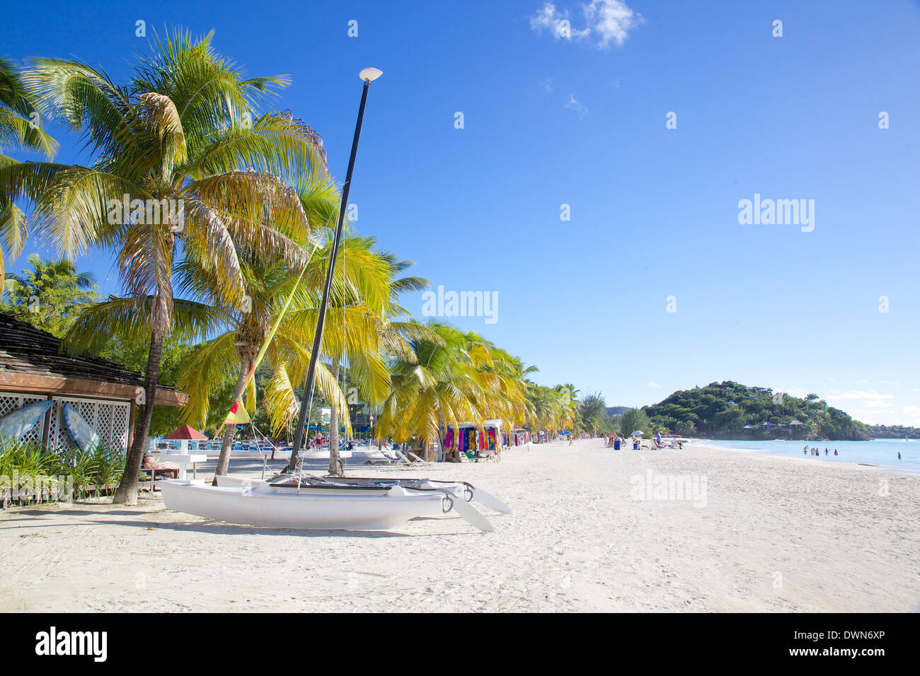 Beach, Jolly Harbour, St. Mary, Antigua, Leeward Islands, West Indies, Caribbean, Central America - Stock Image