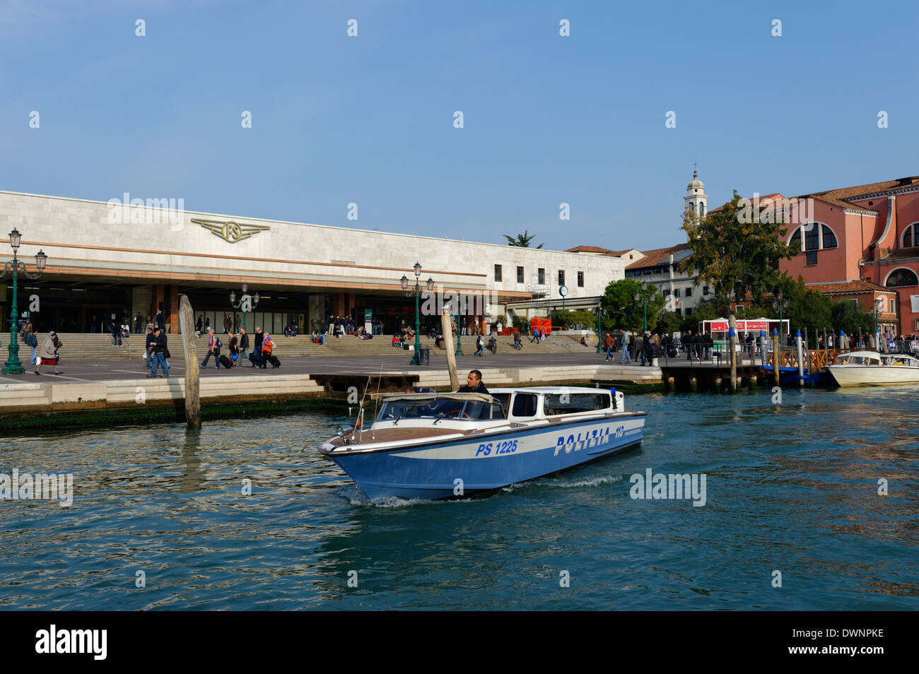 Police boat in front of the Santa Lucia train station, Cannaregio, Venice, Veneto, Italy - Stock Image
