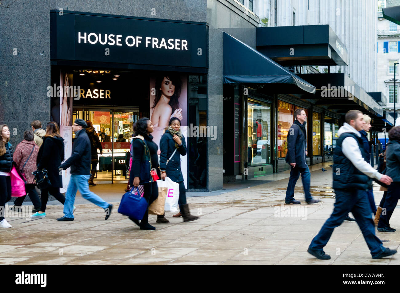 House Of Fraser Front Shop in Oxford Street Stock Photo