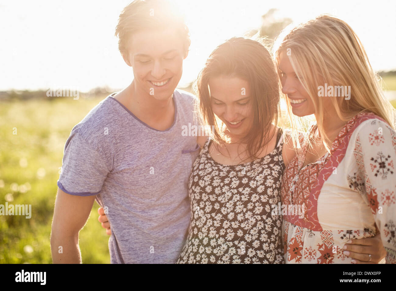 Happy young friends at countryside - Stock Image