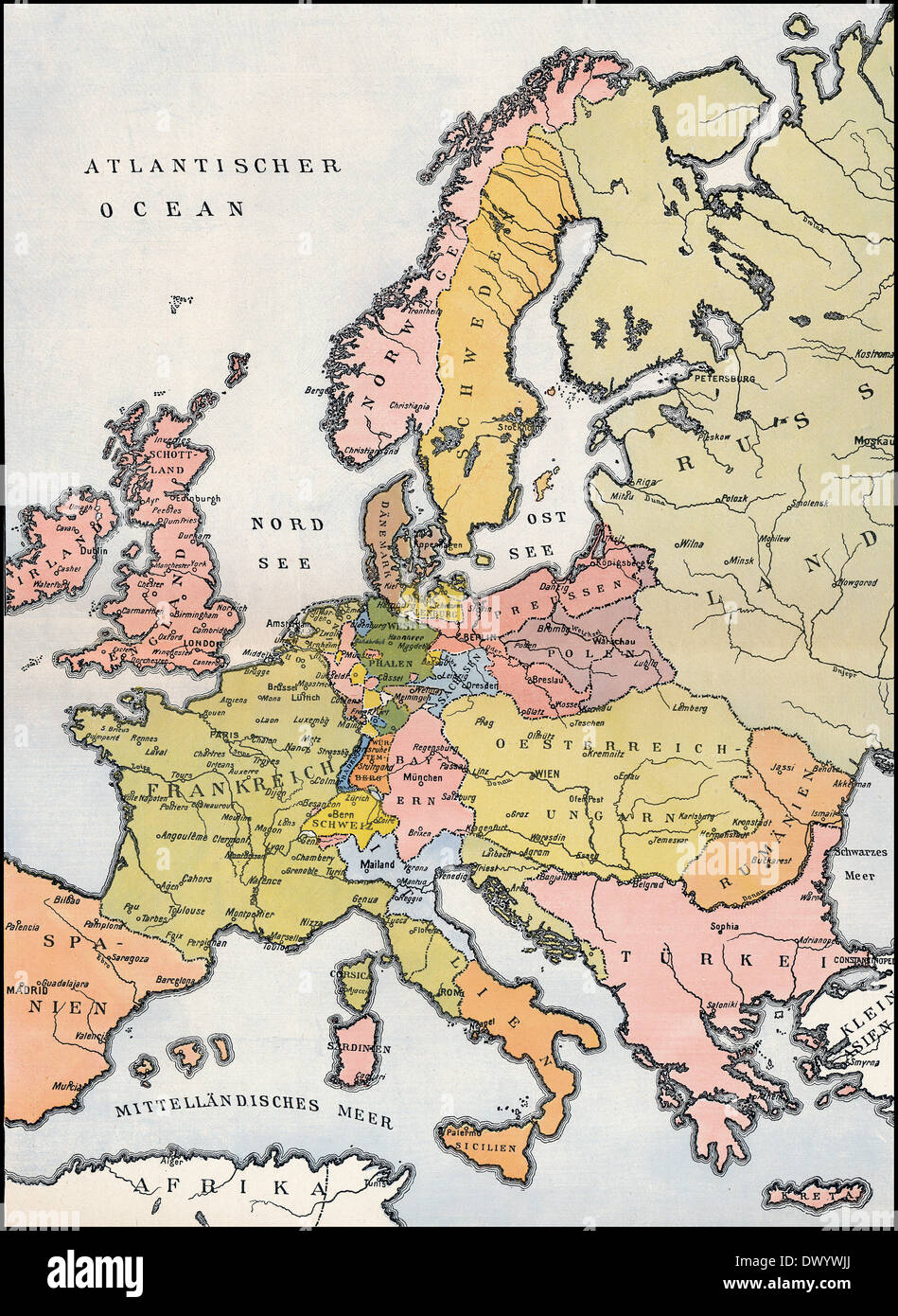 Map of Europe, 1809, Historical illustration, 19th Century Stock