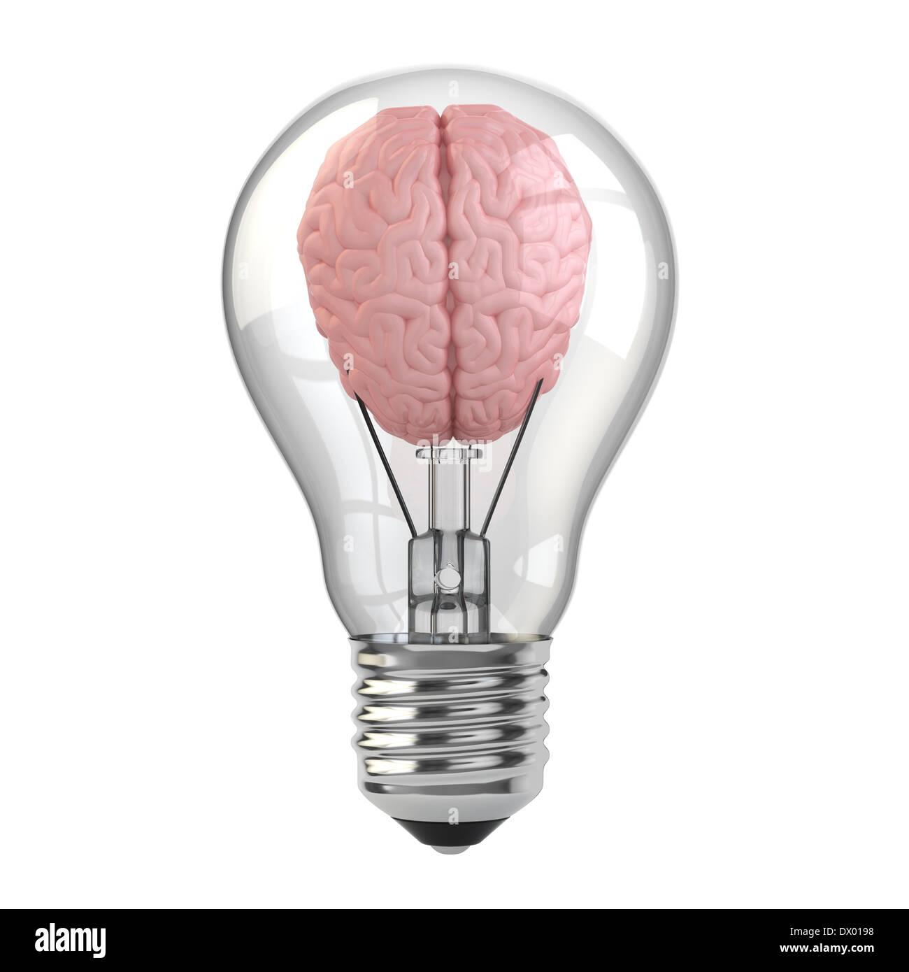 Brain In The Light Bulb. 3d