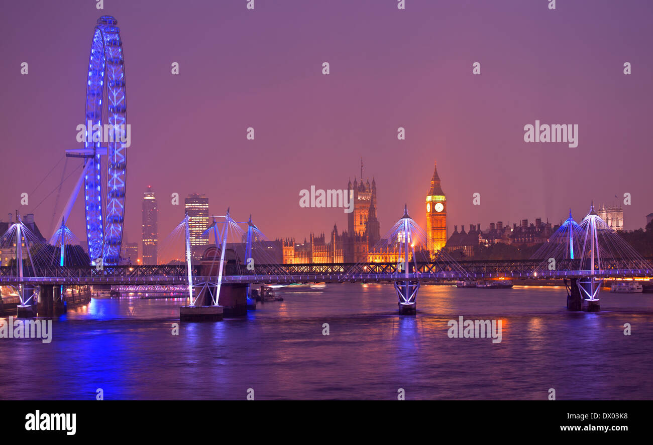 London Eye at dusk in London - Stock Image