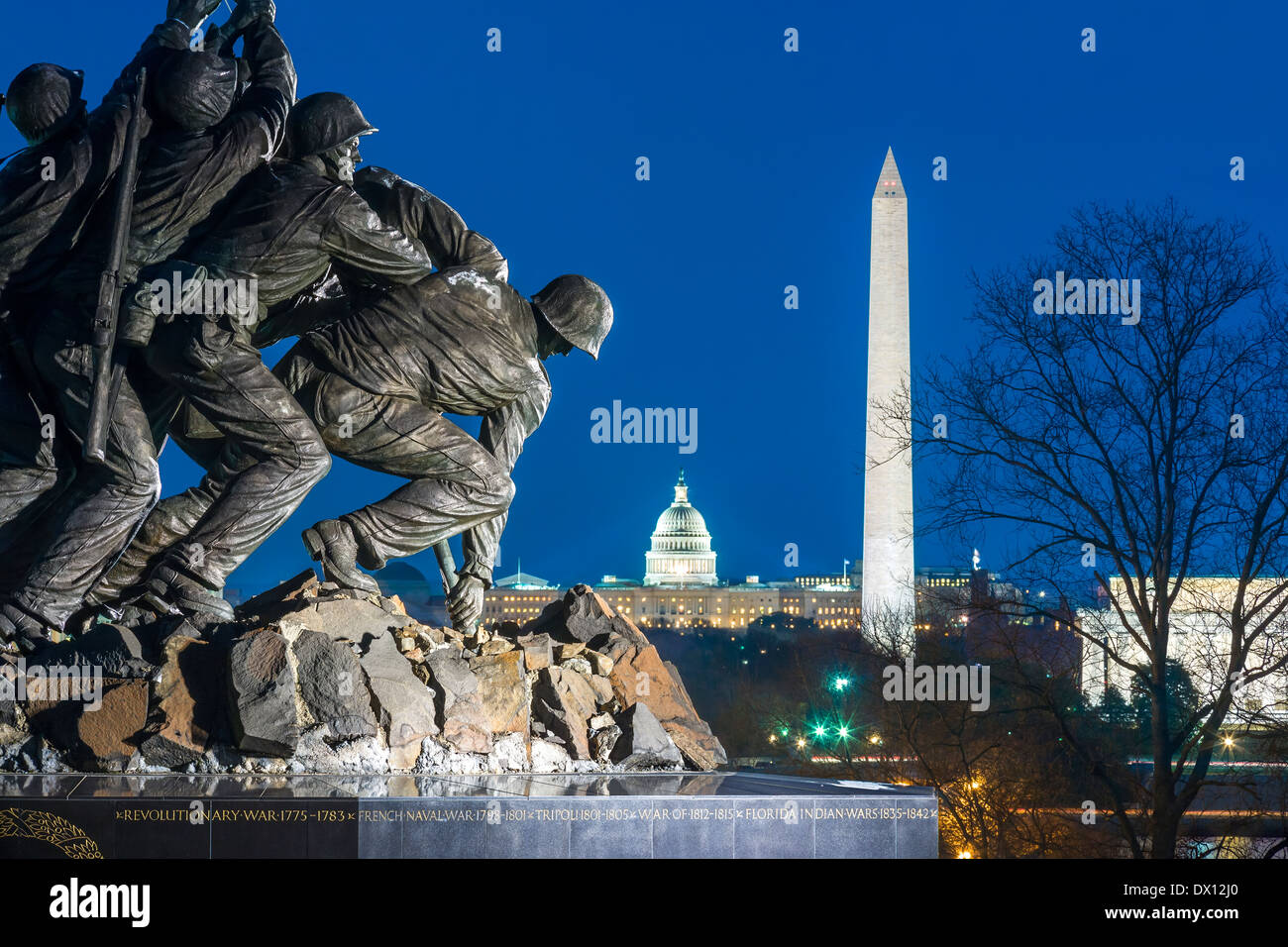 Arlington US Marine Corps War Memorial Washington DC skyline Washington Monument US Capitol Building Lincoln Memorial Stock Photo