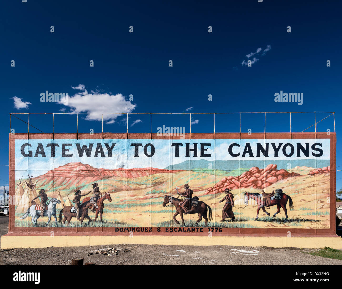Gateway to the Canyons, mural commemorating Dominguez-Escalante Expedition of 1776, in Delta, Colorado, USA Stock Photo