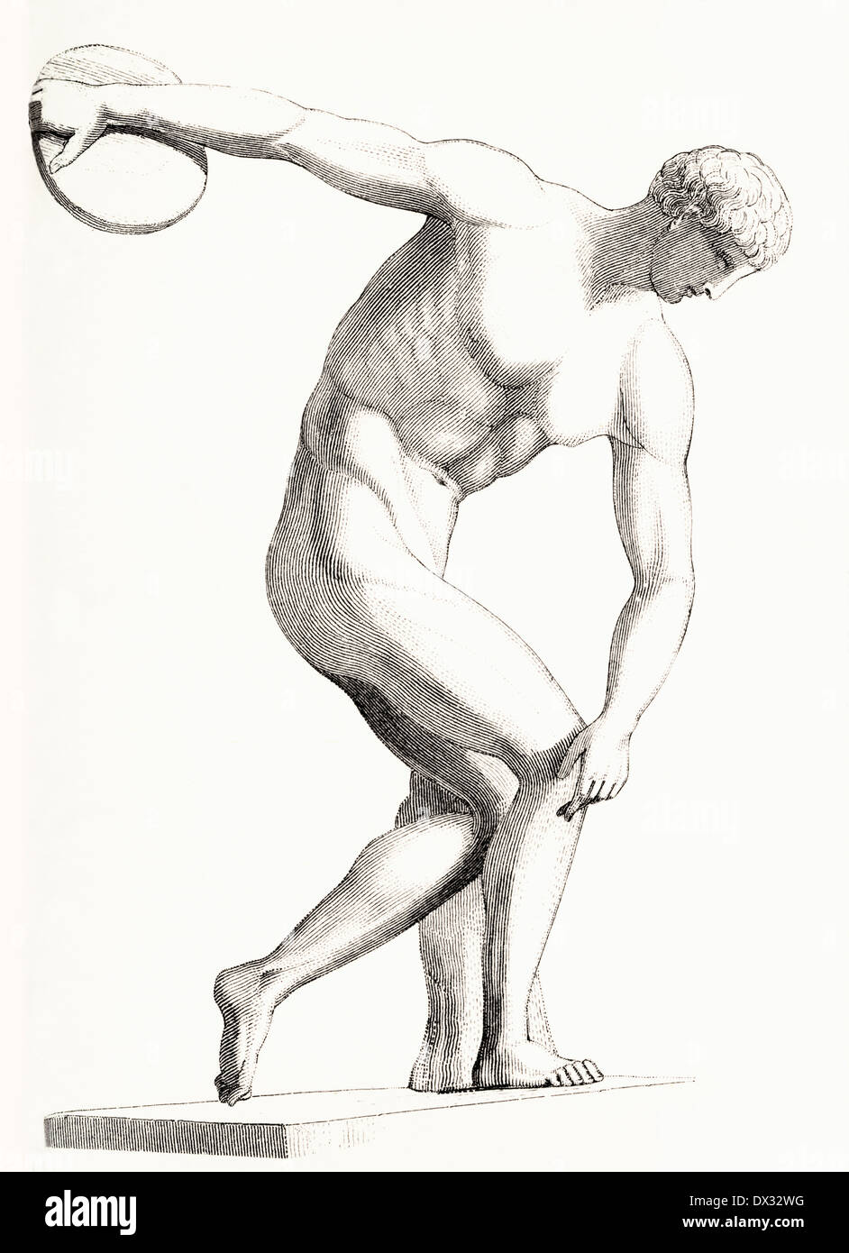 The Discobolus of Myron. Greek sculpture. - Stock Image