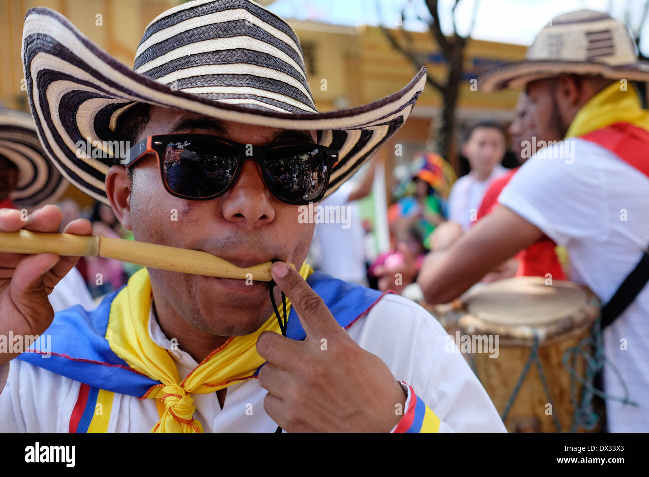 MIAMI - MARCH 9, 2014: Portrait of colombian street performer during the 37th Calle Ocho festival, an annual event - Stock Image