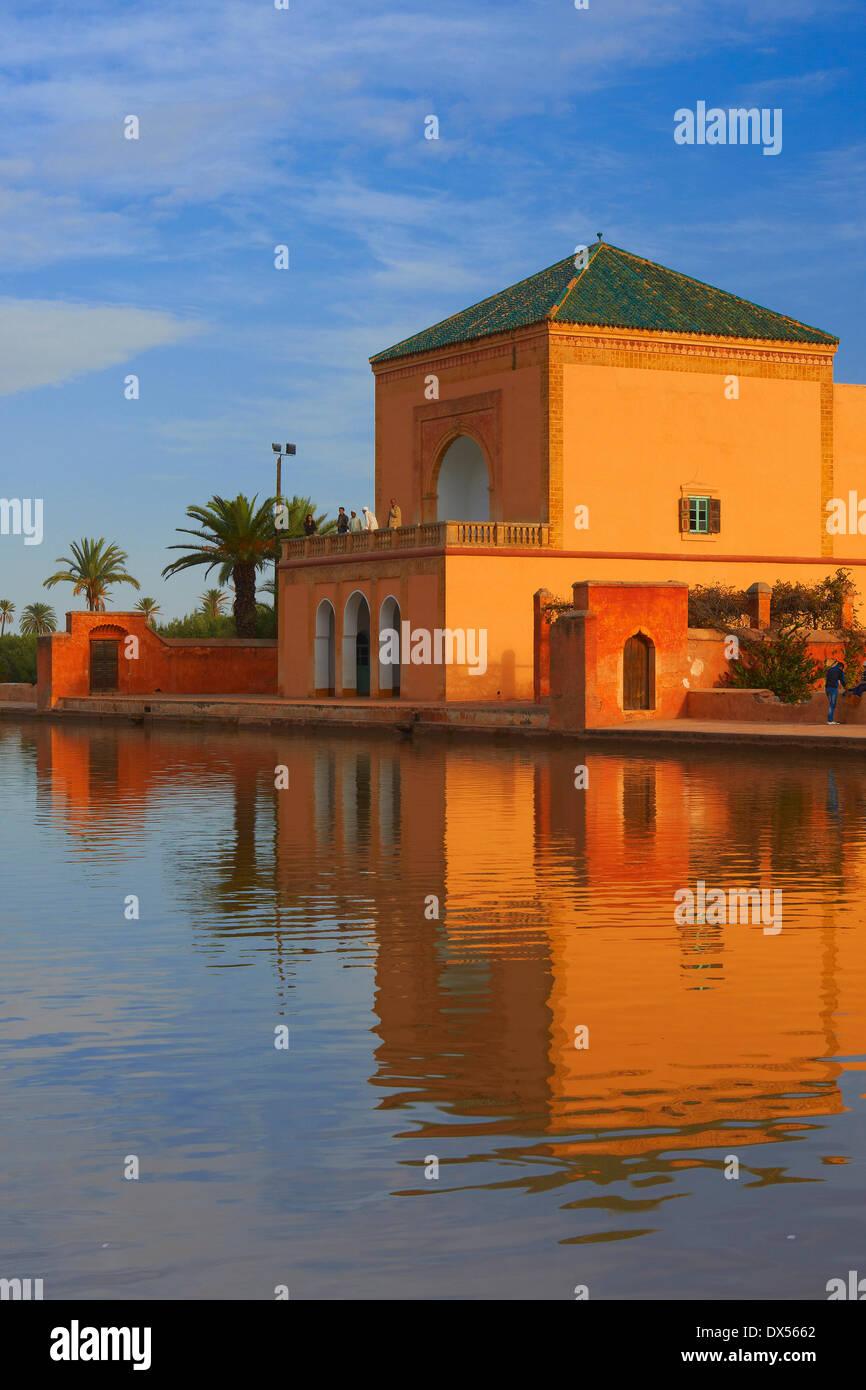 Saadier Palace, in the evening light, Menara Gardens, Marrakech ...