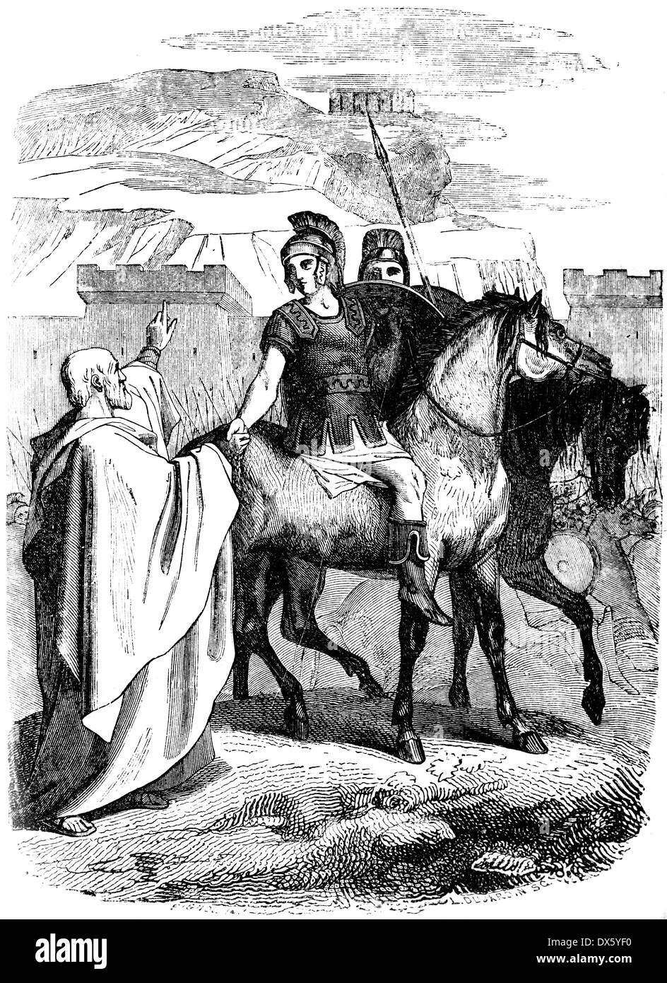 Alexander the Great and Aristotle, illustration from book dated 1878 Stock Photo