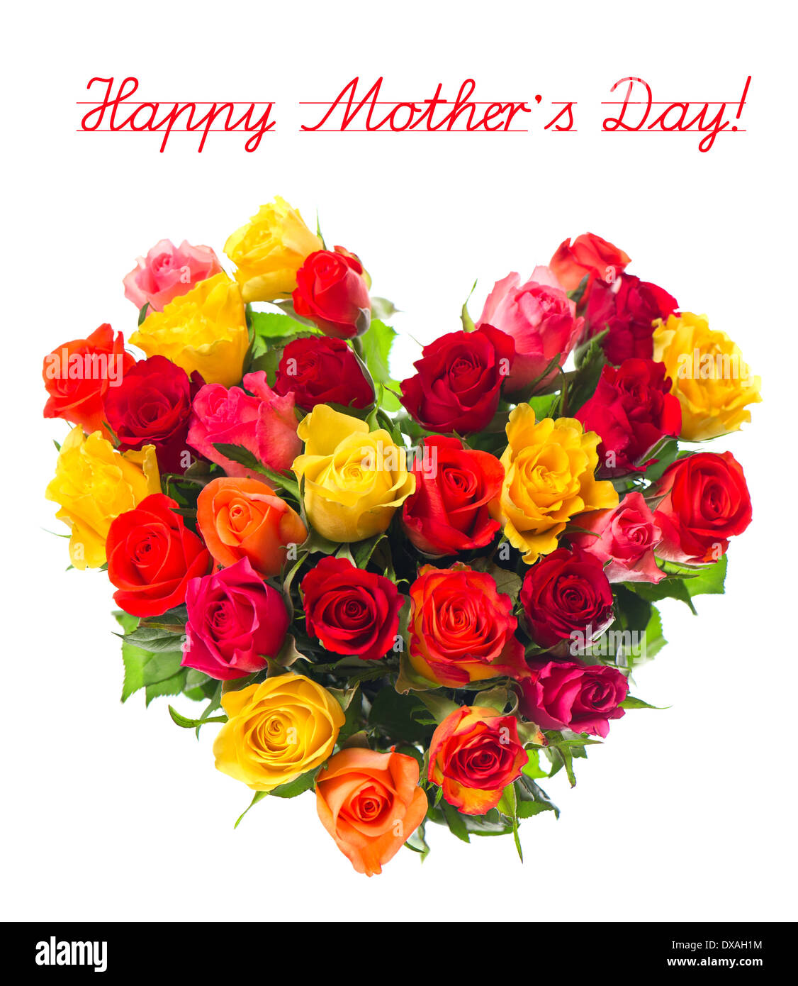 happy mother\'s day! bouquet of colorful assorted roses in heart ...
