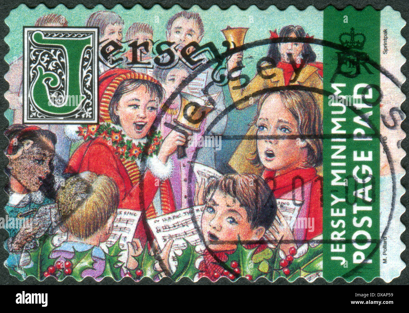 postage stamp printed in jersey crown dependencies of the british crown christmas issue shows children sing christmas songs - British Christmas Songs