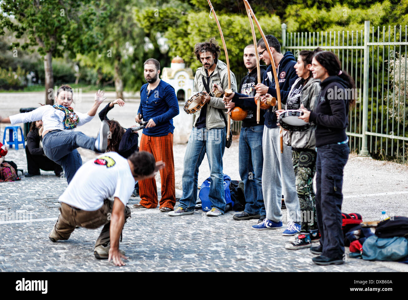 Capoeira in the street of Athens, Greece - Stock Image