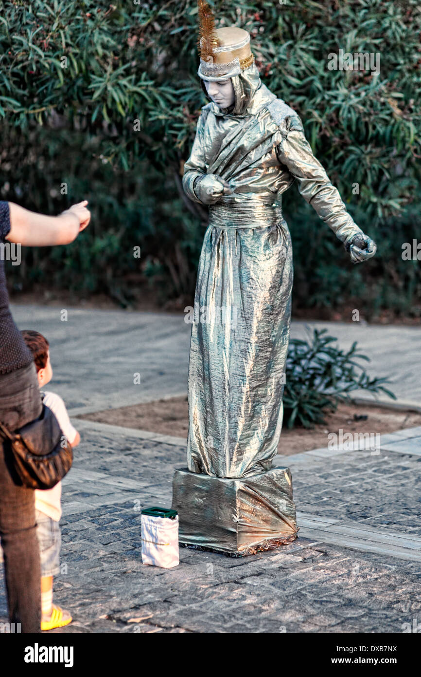 A mime performs in the street of Athens, Greece - Stock Image