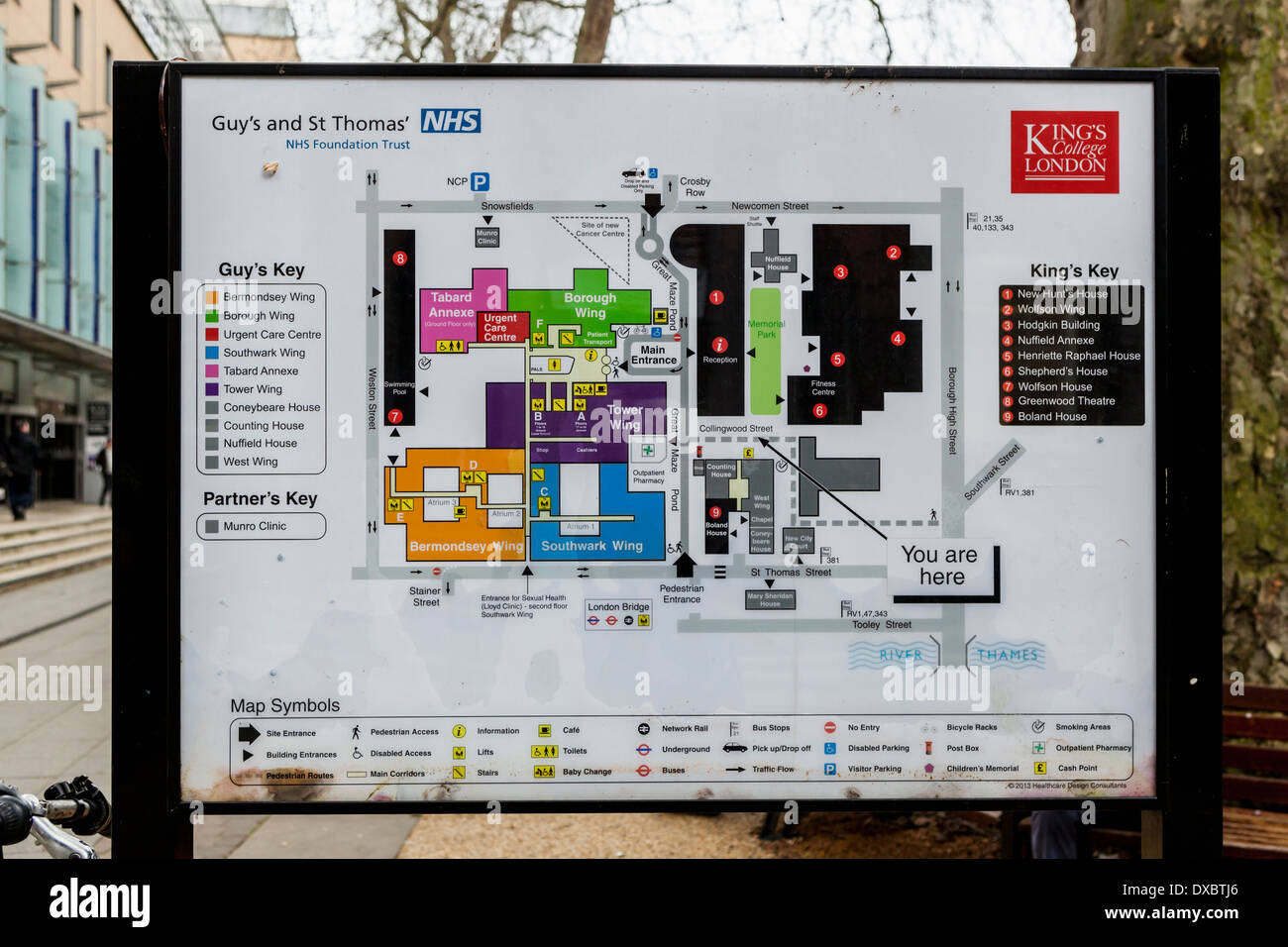 Kings College London Map.Map Of Guy S Campus Kcl King S College London Uk Stock Photo