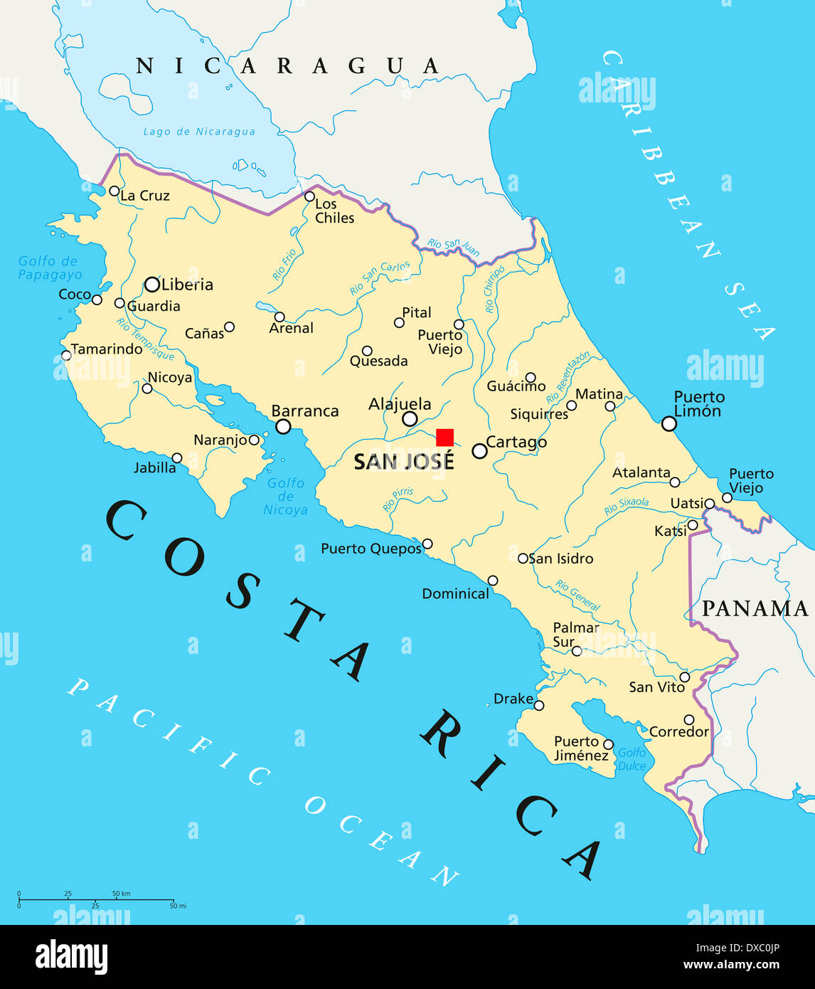 Political map of Costa Rica with the capital San Jos national