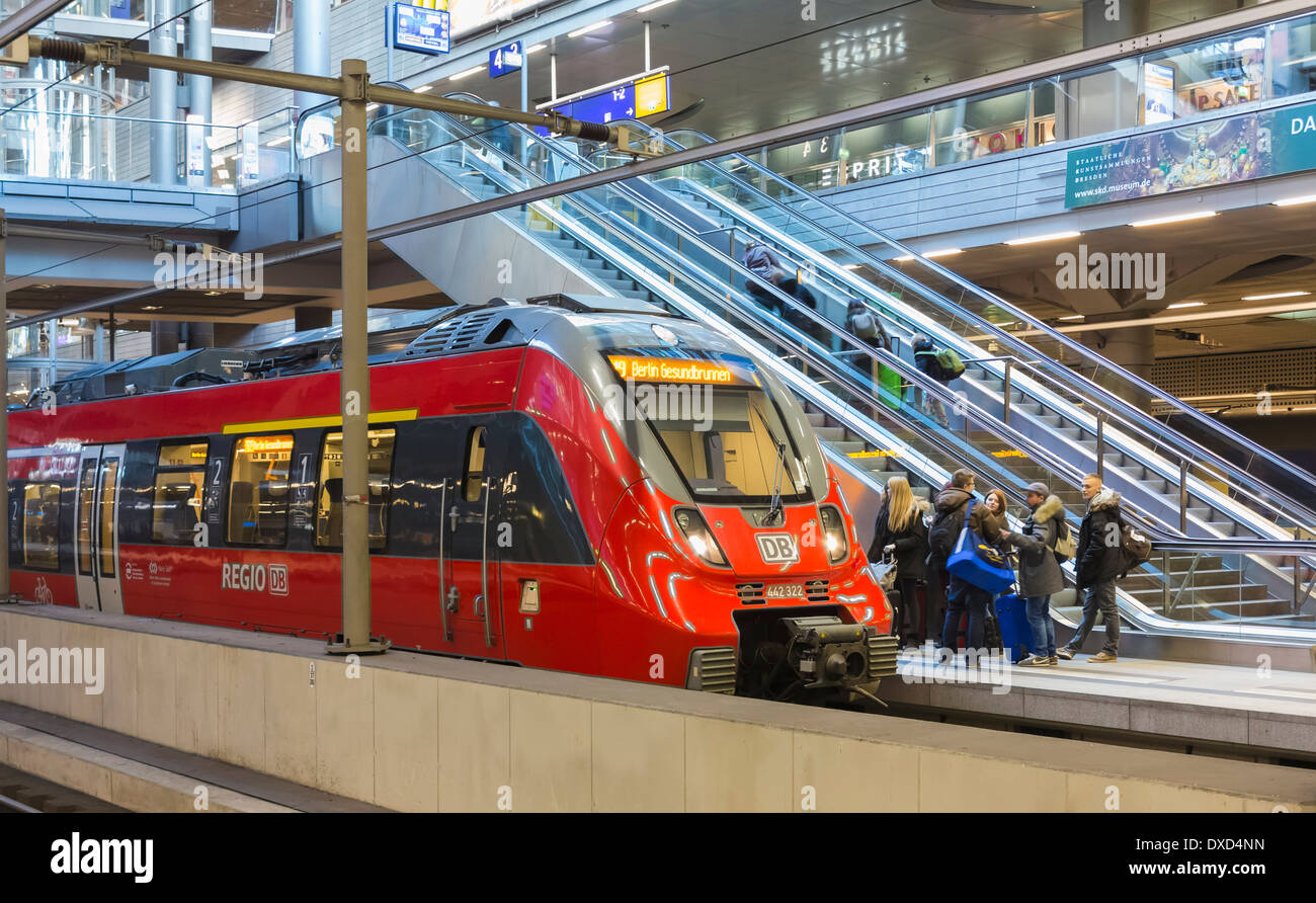 In the Hauptbahnhof central train station, Berlin, railway stations, Germany, Europe - Stock Image