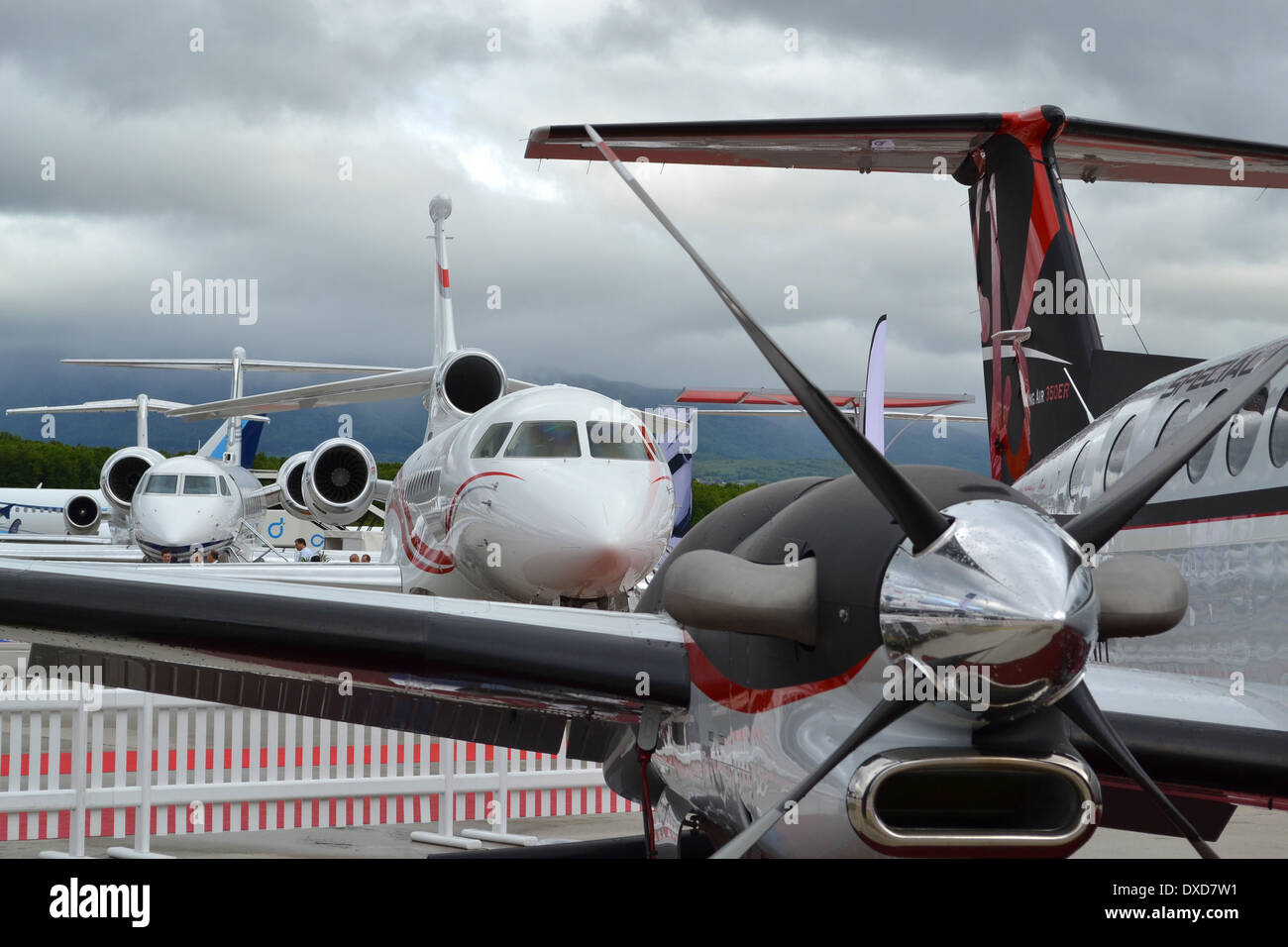 Business aircraft on the static park at the 2013 Ebace show, Geneva Stock Photo