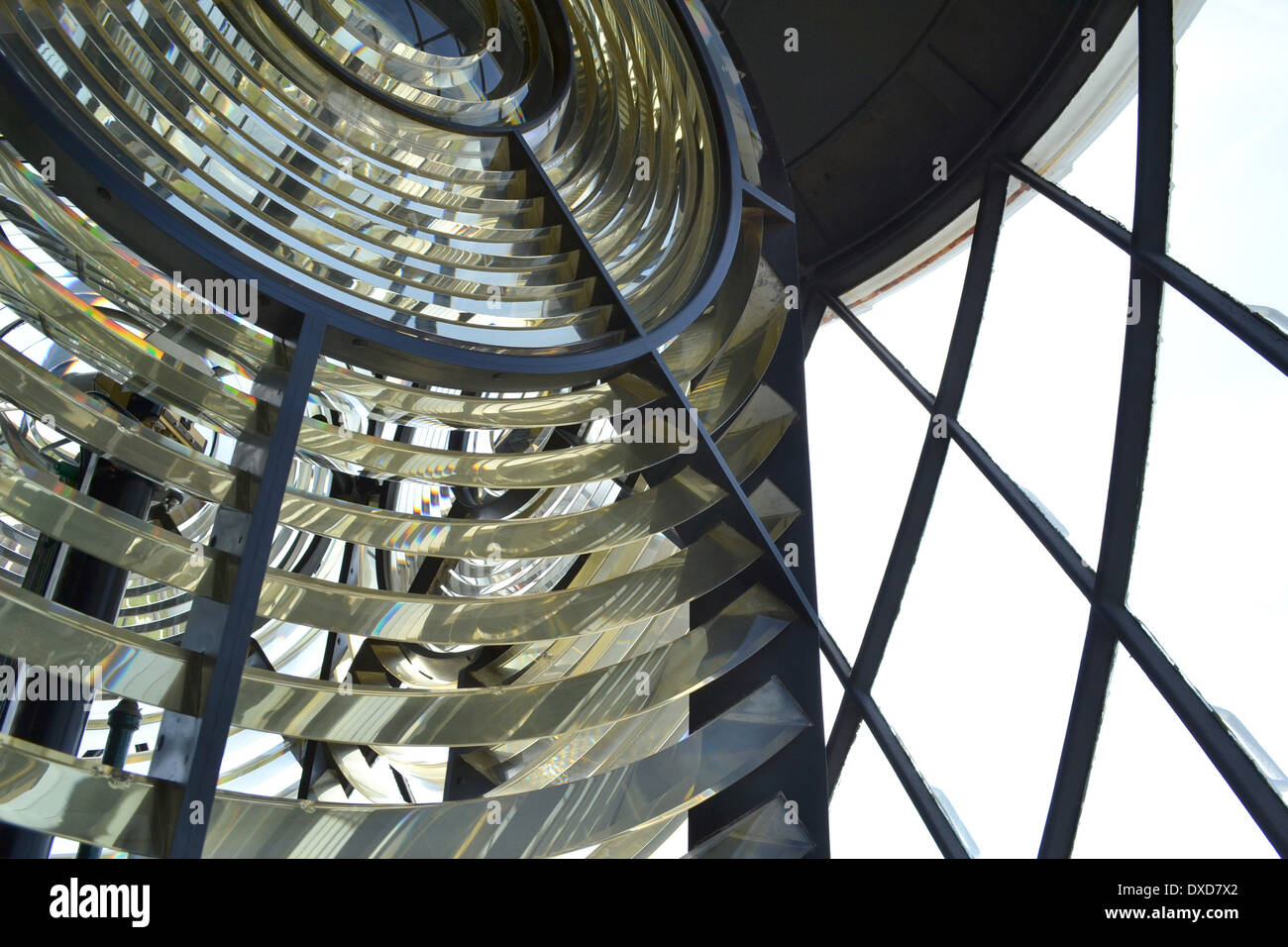 Fresnel lens on the lamp at the Lizard Lighthouse, Cornwall, England. Stock Photo