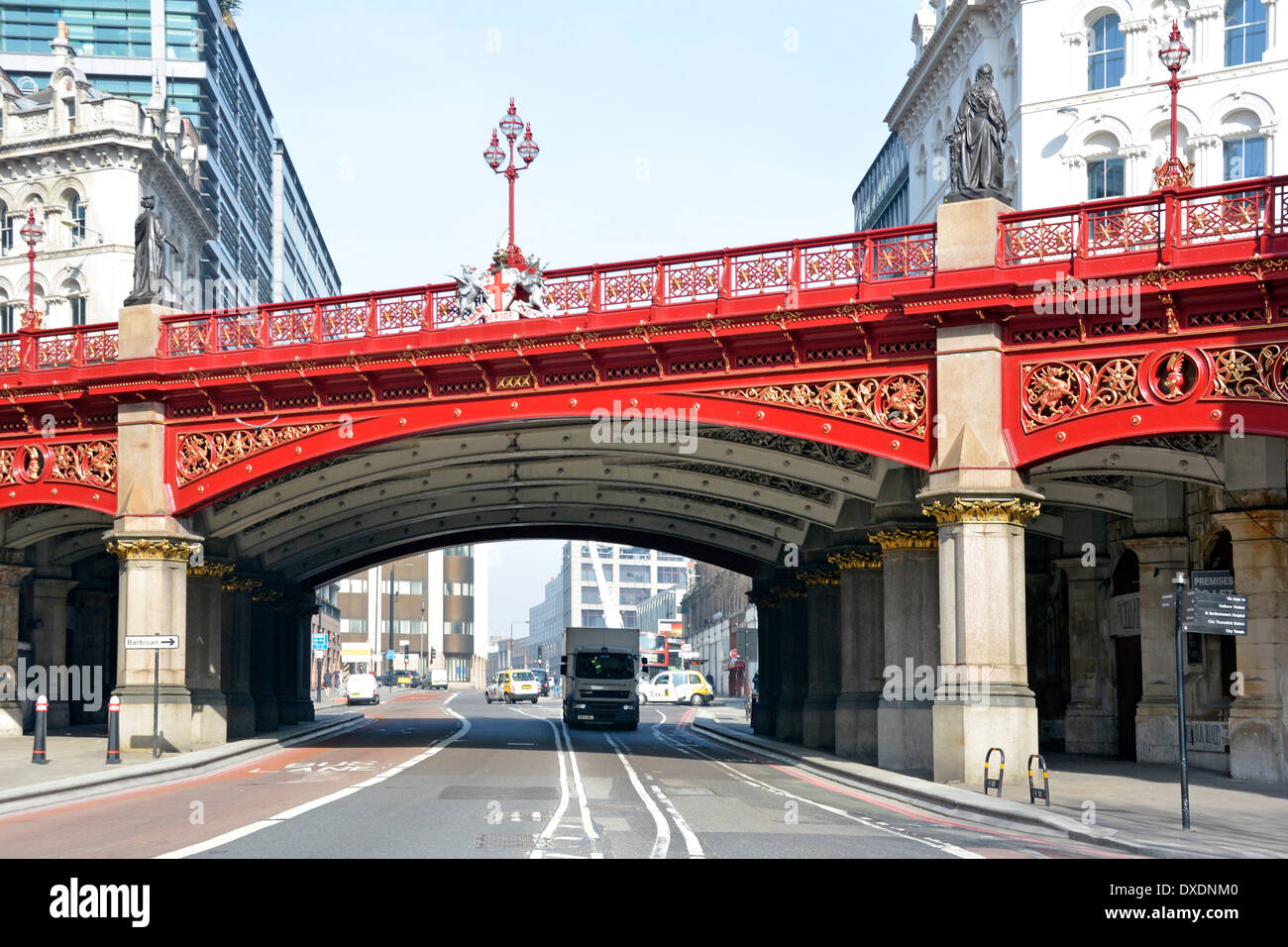 Holborn Viaduct  road bridge crossing over Farringdon Street in City of London (claimed to be first flyover in central - Stock Image