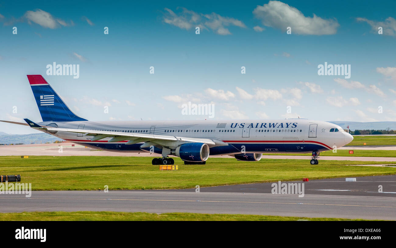 An US Airways Airbus A330-300 seen at Manchester airport during 2012 - Stock Image