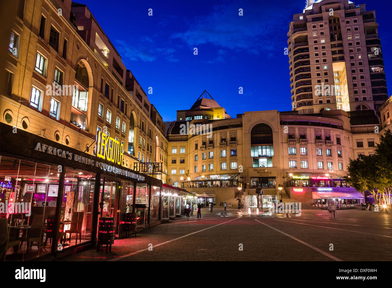 Nelson Mandela Square is a shopping centre in Sandton, Johannesburg, South Africa. Formerly known as Sandton Square. - Stock Image