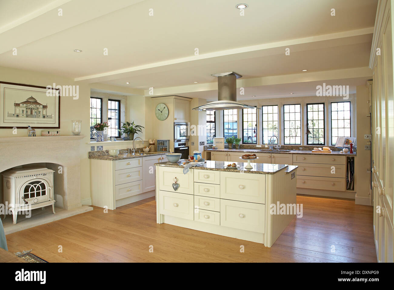 a large modern cream country kitchen in a home in the uk - Large Country Kitchen