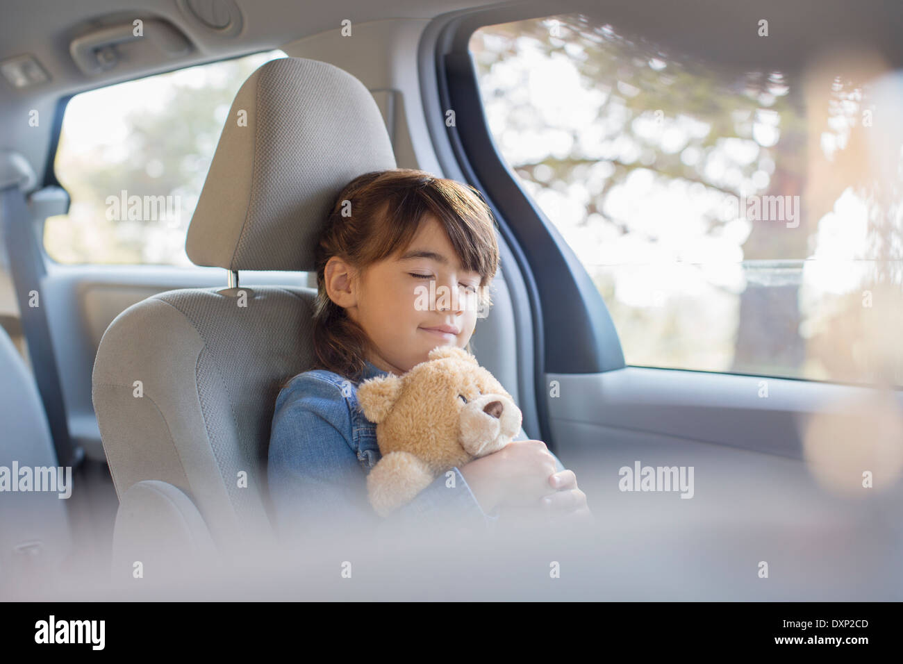 Girl with teddy bear sleeping in back seat of car - Stock Image